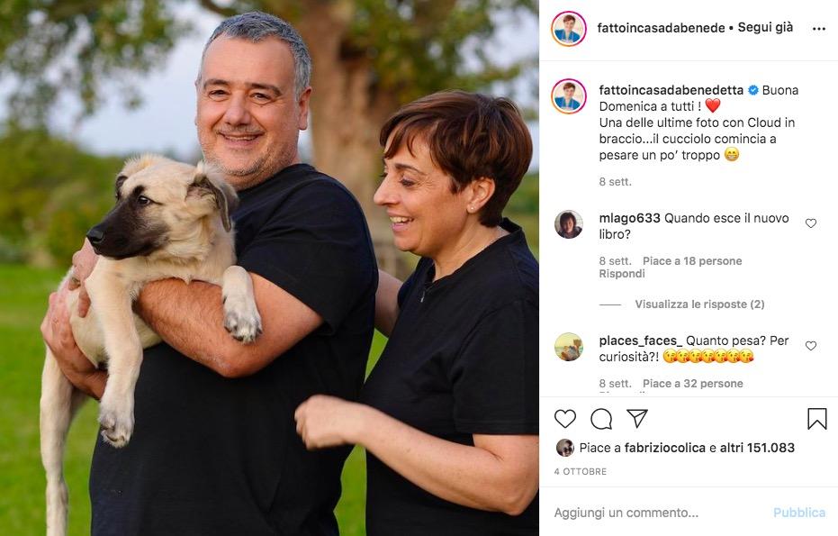 benedetta rossi e marco con il cane cloud su instagram