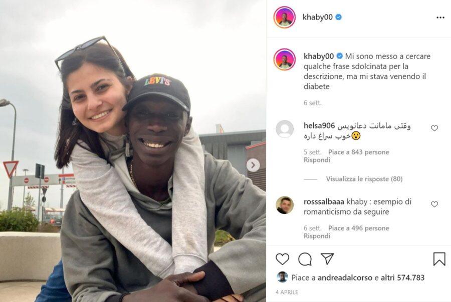 Khaby Lame con la fidanzata su Instagram e Tik Tok