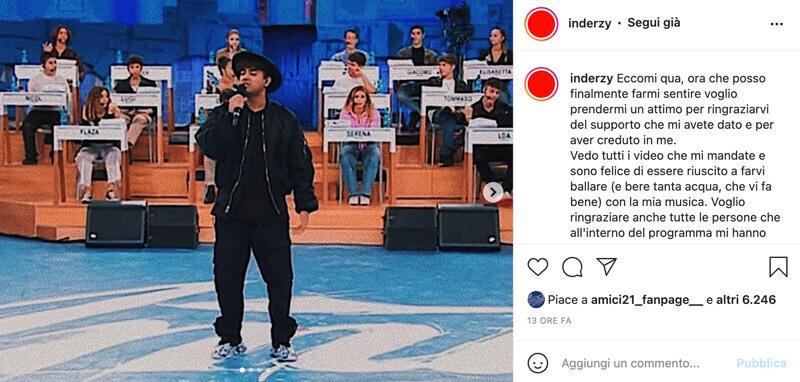 Amici 21 le parole di Inder su Instagram